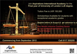 Final Year LLB Degree Programme in Srilanka - Aspirations with University of London