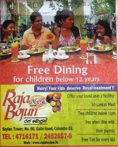 Free Dining for Children at Raja Bojun