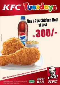 KFC Tuesdays Offer ~ Buy 2 Pc Chicken Meal for Just Rs. 300.00