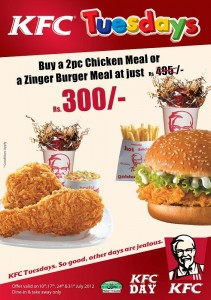 KFC Tuesdays Offer ~ Buy 2 Pc Chicken Meal or a Zinger Burger Meal for Just Rs. 300.00