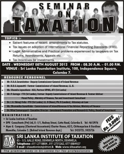 Seminar on Taxation by Srilanka Institute of Taxation on 8th August 2012