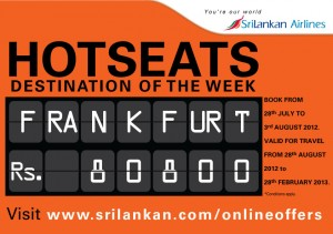 Srilankan Airline Offer for Frankfurt – Rs. 80,800.00