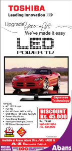 Toshiba LED Power TV for Rs. 134,990.00 only at Abans