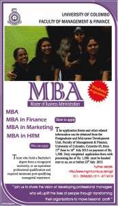 University of Colombo Master of Business Administration (MBA) – 2012