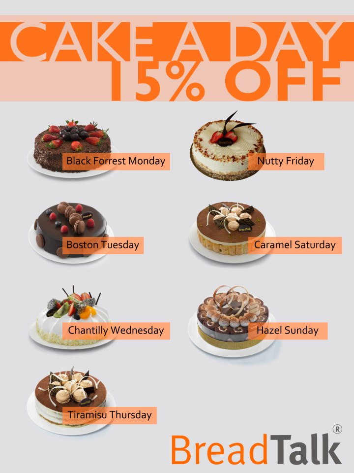 15 off on Cake a Day from Bread Talk Srilanka SynergyY