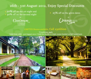 20% to 30% off on Cinnamon Lodge and Chaaya Village Habarana