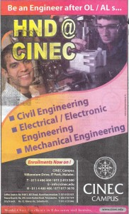 CINEC HNDs and Engineering Courses
