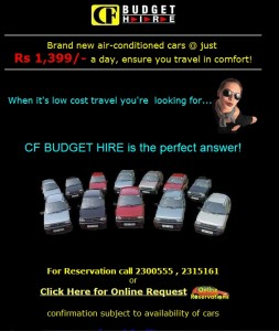Central Finance Budget Rent a Car Service – Rs. 1,399.00 per Day