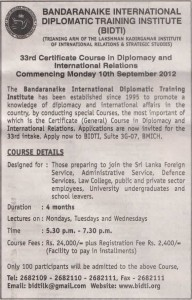 Certificate course in Diplomacy and International relations Courses commence on 10th September 2012