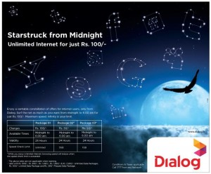 Dialog Cheapest Unlimited Internet package for Rs. 100.00