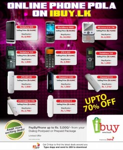 Discounts up to 70% in Dialog Online Mobile Market (Phone Pola)