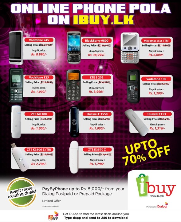 Discounts up to 70 in dialog online mobile market phone for Discount mobili on line