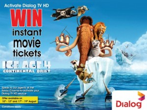 Free Ice Age 4 Movie Ticket in Srilanka by Dialog