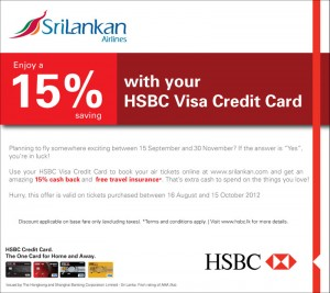 HSBC Credit Card offer for Srilankan Airline till 15th October 2012