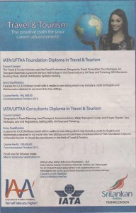 IATA and Srilankan Airline Diploma in Travels and Tourism Courses for October 2012