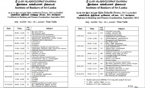 IBSL September 2012 Examination timetable