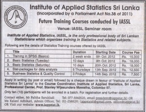 Institute of Applied Statistics Srilanka (IASSL) future training courses