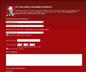 KFC Srilanka Consumer Feedback or Complain can Made on Online