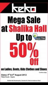 Keko Mega Sale at Shalika Hall on 4th &5th August 2012