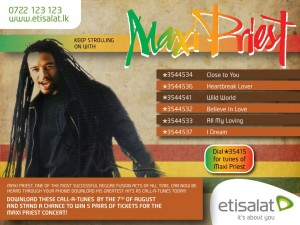 Maxi Priest Reggae Songs in Etisalat Call a Tunes