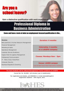 Professional Diploma in Business Administration – LAHES