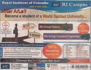Royal Institute of Colombo (RI Campus) LLB and B.Sc Degree programme for 2012