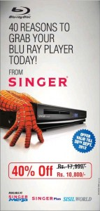 Singer Blu-ray Disc for Rs. 10,800.00 with 40% off- till 30th September 2012