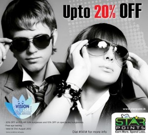 Vision Care up to 20% Discounts on sunglasses for Star Points