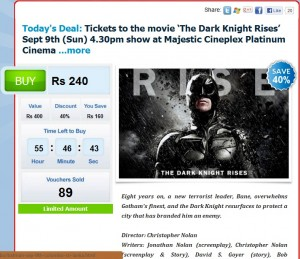 40% off on The Dark Knight Rises movie show on 9th September 2012 at Majestic Cineplex Platinum Cinema
