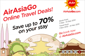 Air Asia Go Online Travel Deals up to 70% off booking till 10th September 2012