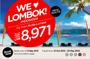 Air Asia Offer Lombok Indonesia for Rs. 8,971.00