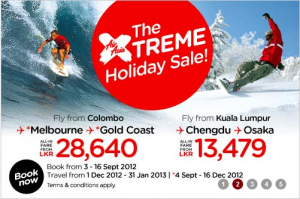 Air Asia September Sale for Colombo- Kuala Lumpur, Melbourne and Gold Coast