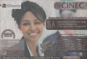 BA in International Hospitality & Tourism Management at CINEC, Srilanka