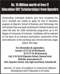 BIT Rs. 15 Million Scholarship from Open Arc School in Srilanka