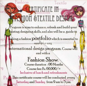 Certificate in Fashion & Textile Design in Srilanka