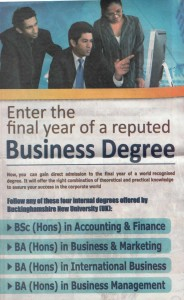 Final Year Business Degree from SAITM Malabe with Professional Part Qualifications
