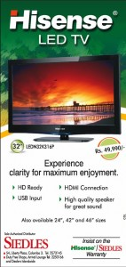"Hisense32"" LED TV for Rs. 49,990.00 only in Sri Lanka"