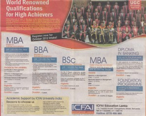 ICFAI Sri Lanka Invites Applications for Degree Programmes September 2012