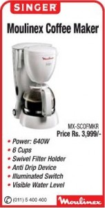 Moulinex Coffee Maker for Rs. 3,999.00 from Singer