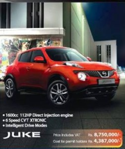 Nissan Juke Price in Srilanka as Rs. 8,750,000 with VAT