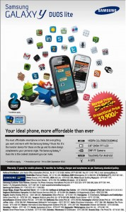 Samsung Galaxy Y Duos Lite for Rs. 19,900.00 in Srilanka