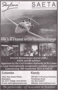 To be Licensed Aircraft Maintenance Engineer in Srilanka by Skyline
