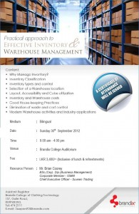 Workshop on Effective Inventory & Warehouse Management by Brandix