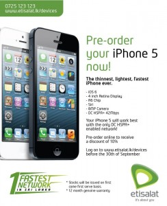iPhone 5 Pre Order in Srilanka by Etisalat