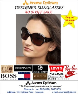 40% off Sale Designer Sunglasses from Anoma Opticians