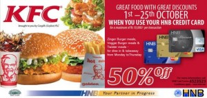 50% off for HNB Credit Cards at KFC Srilanka – Valid till 25th October 2012