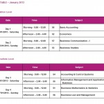AAT Srilanka January 2013 Examinations time table for Foundation and Intermidiate