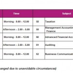 AAT Srilanka January 2013 Examinations time table for Finals