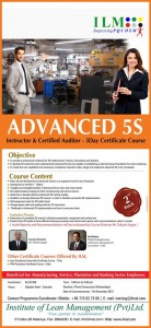 Advanced 5s Instructor & Certified Auditor – 3 days Certificate Course