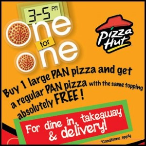 Buy 1 large Pizza and Get 1 Absolutely FREE from Pizza Hut